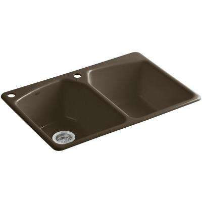 Tanager Drop-in Cast-Iron 33 in. 2-Hole Double Bowl Kitchen Sink in Suede