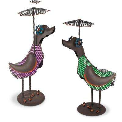 20.47 in. Tall Solar-Powered Metal Duck Figurines with Umbrella and Industrial Accents (2-Set)