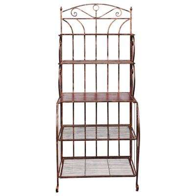 Saddlebrook 28 in. x 19 in. x 65 in. Antique Copper Rosewood Stained Rubberwood Bakers Rack