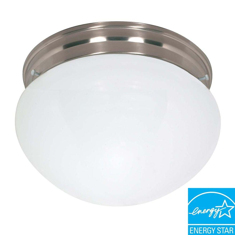 Green Matters Concord 2-Light Brushed Nickel Flush Mount