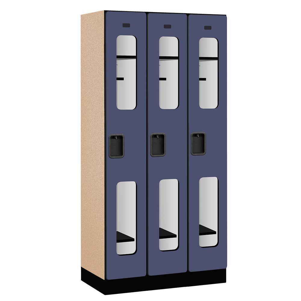 S-31000 Series 36 in. W x 76 in. H x 18 in. D Single Tier See-Through Designer Wood Locker in Blue