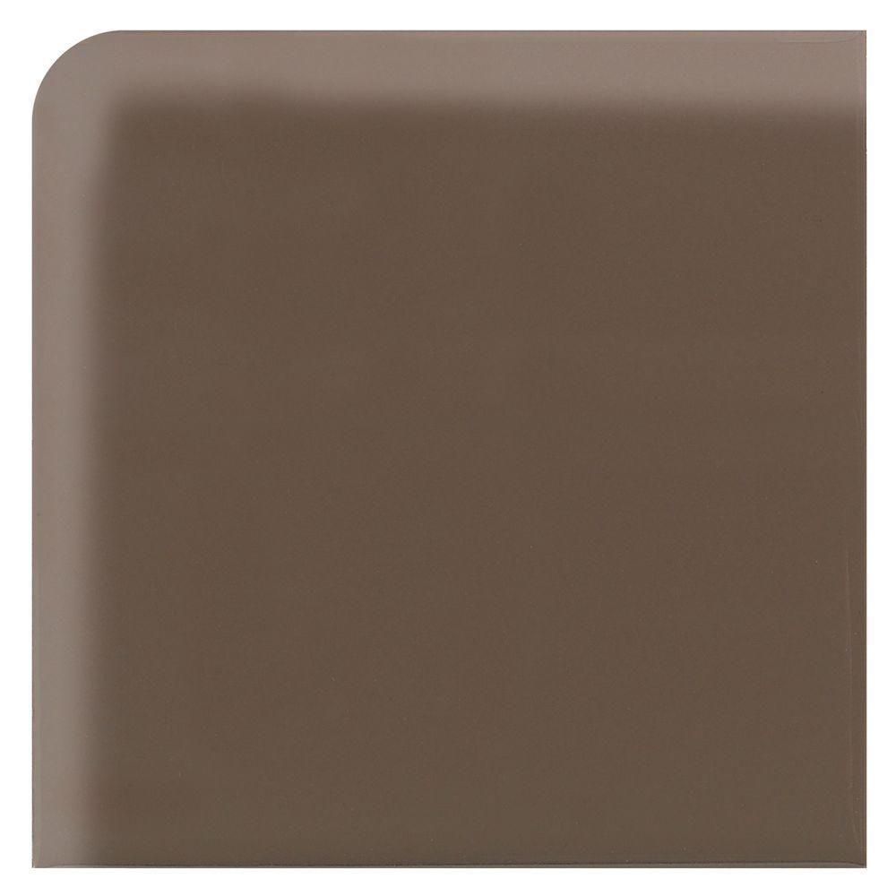 Daltile Modern Dimensions Artisan Brown 2-1/8 in. x 2-1/8 in. Ceramic Bullnose Corner Trim Wall Tile-DISCONTINUED