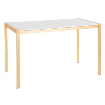 Fuji Gold Metal Dining Table with White Marble Top
