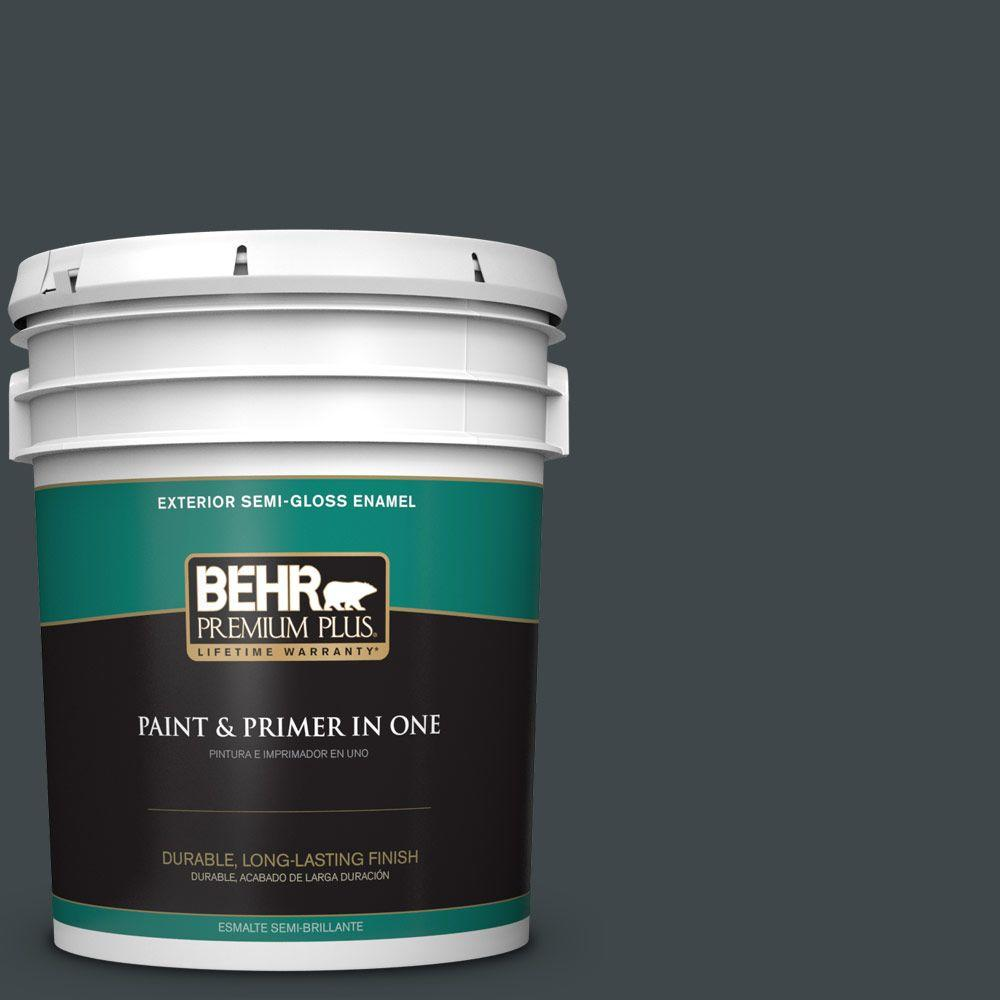 BEHR Premium Plus 5-gal. #730F-7 Black Sable Semi-Gloss Enamel Exterior Paint