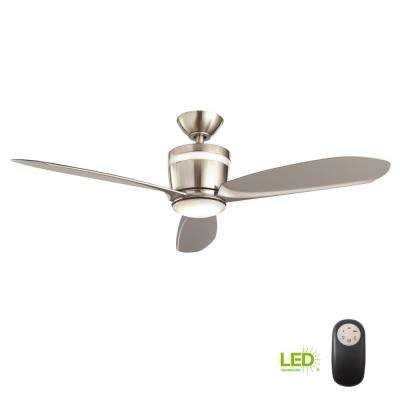 Federigo 48 in. Integrated LED Indoor Nickel Ceiling Fan with Light Kit and Remote Control