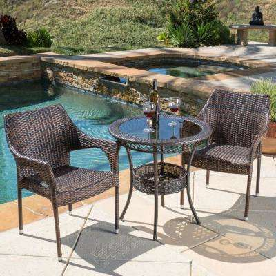 Mirage Multi-Brown 3-Piece Wicker Outdoor Bistro Set