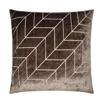Villa Mocha Feather Down 24 in. x 24 in. Decorative Throw Pillow