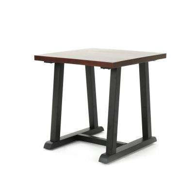 Powell Industrial Dark Walnut Faux Wood End Table with Black Metal Legs