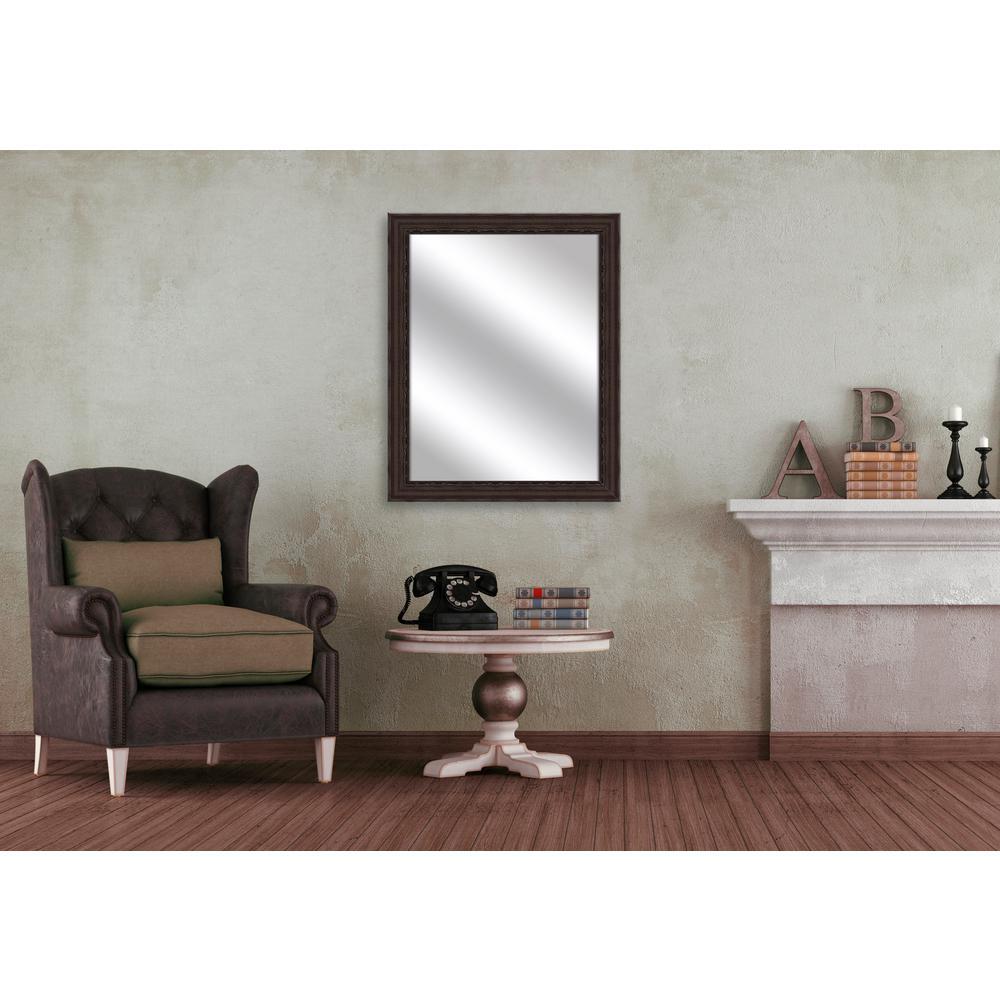 32.375 in. x 26.375 in. Espresso Framed Mirror