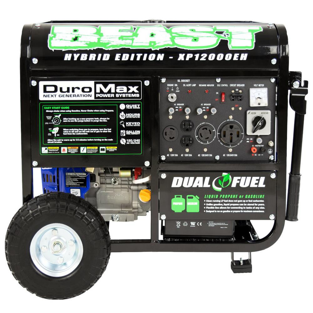 Duromax XP12000EH 9,500-Watt 18 HP Dual Fuel Powered Portable ...