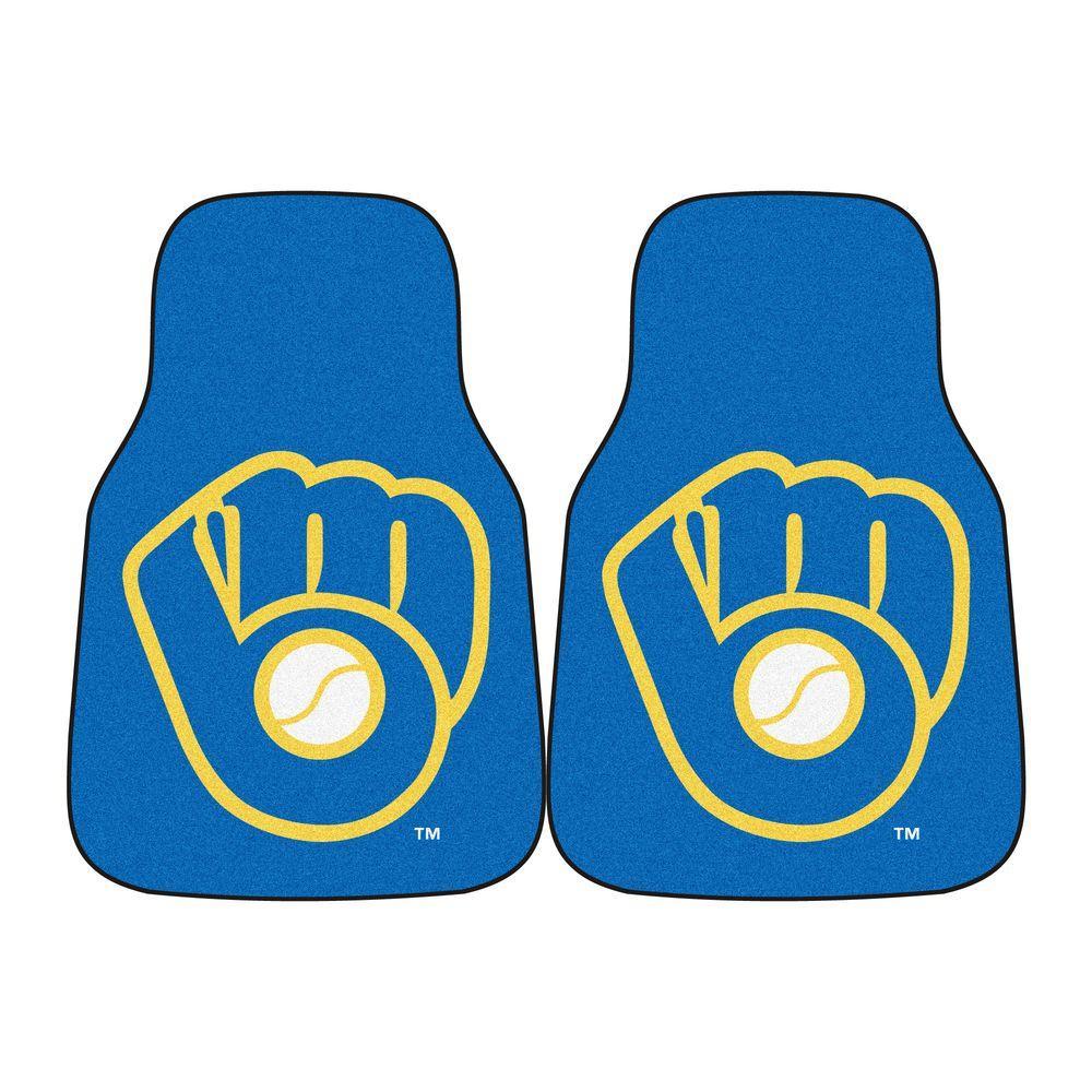 MLB Milwaukee Brewers Heavy Duty 2-Piece 18 in. x 27 in. Nylon Carpet Car Mat
