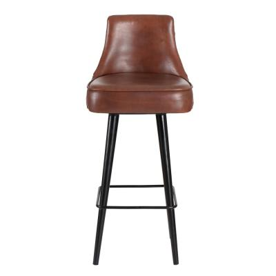 Equator 43 in. Brown Waxi Genuine Leather Swivel Bar Stool