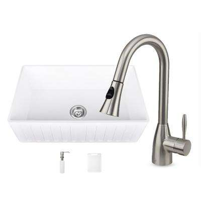 All-in-One Matte Stone Farmhouse 33 in. 0-Hole Kitchen Sink and Aylesbury Stainless Steel Faucet Set