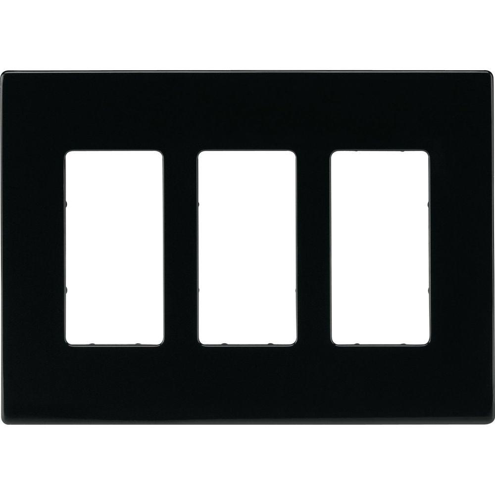 Eaton 3-Gang Screwless Decorator Polycarbonate Wall Plate Black  sc 1 st  The Home Depot & Eaton 3-Gang Screwless Decorator Polycarbonate Wall Plate Black ...