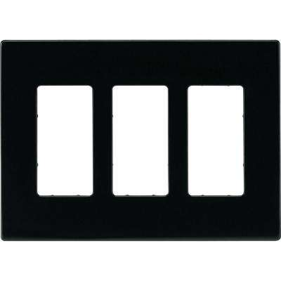 3-Gang Screwless Decorator Polycarbonate Wall Plate, Black