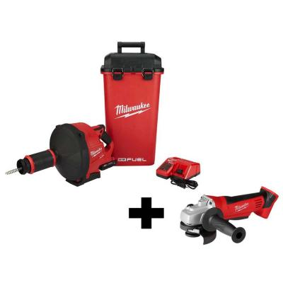 M18 FUEL 18-Volt Lithium-Ion Cordless Drain Cleaning Snake Auger Kit with Free M18 4-1/2 in. Cut-Off/Grinder