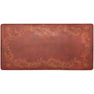 Cook N Comfort Red Tuscan Fleur 20 in. x 39 in. Kitchen Mat