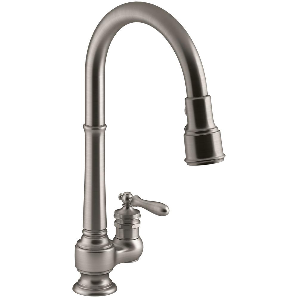 Kohler Barossa Single Handle Pull Down Kitchen Faucet In Vibrant Stainless With Soap Lotion Dispenser And Docknetik K R776 Sd Vs The Home Depot