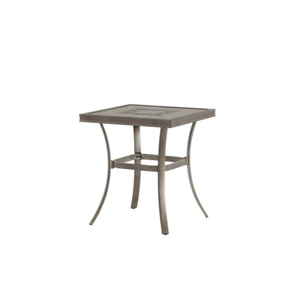 Wilshire Estates 1-Piece Aluminum 26 in. Square Grouted Tile Top Patio Bistro Table