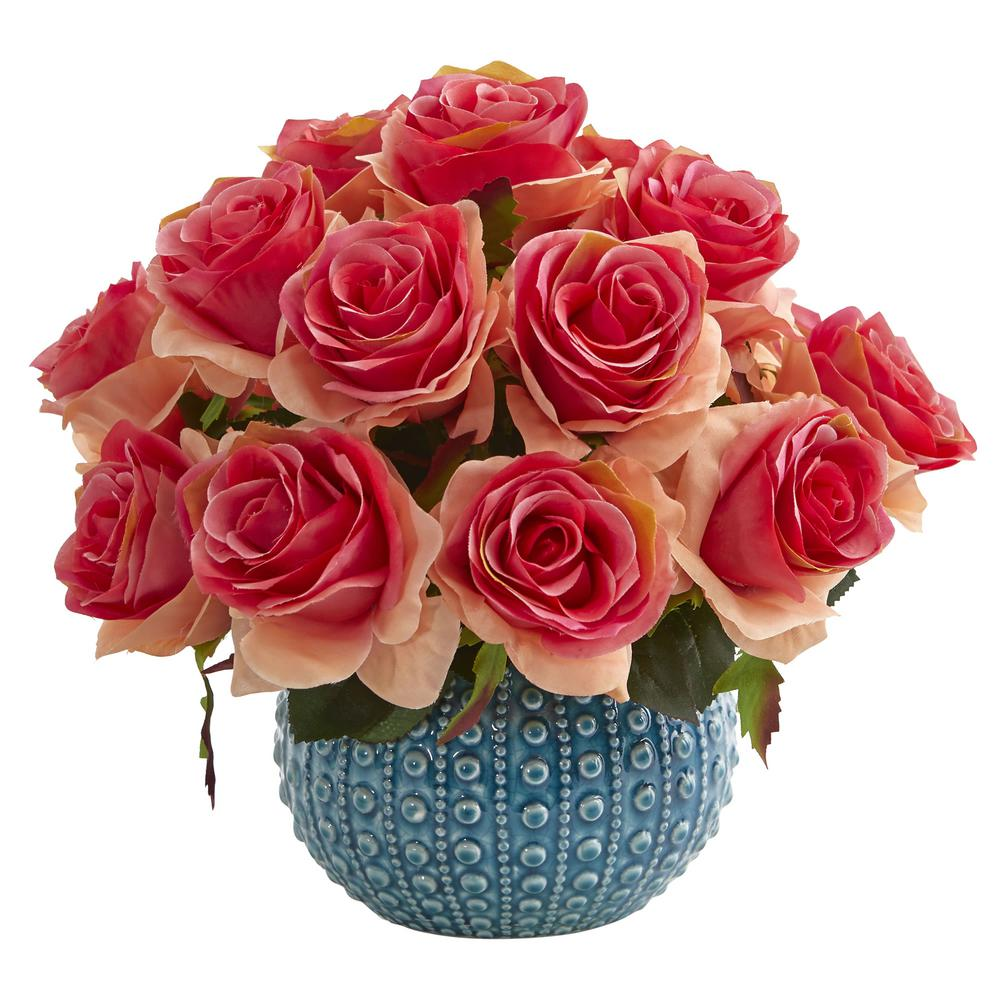 11.5 in. High Dark Pink Roses Artificial Arrangement in Blue Ceramic