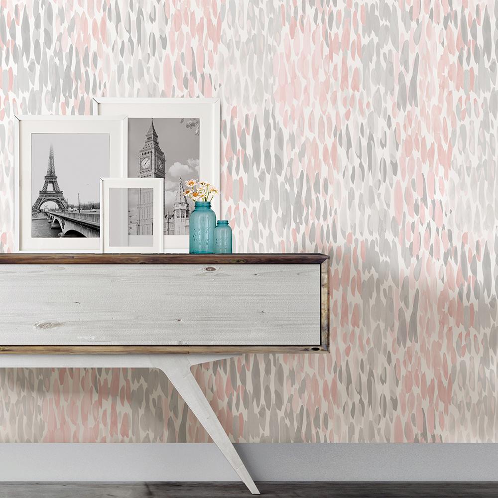 30.75 sq. ft. Blush Make It Rain Peel and Stick Wallpaper