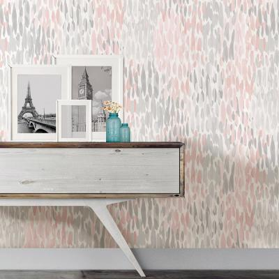 30.75 sq. ft. Blush Make It Rain Peel and Stick Wallpaper