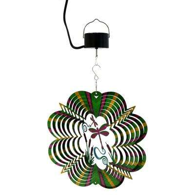 Dragonfly 12 in. Whirligig Wind Spinner with Electric-Operated Motor