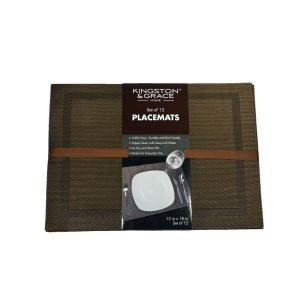 Kingston & Grace Kingston and Grace 13 inch x 18 inch Frame Placemat in Brown (Set of 12) by Kingston & Grace