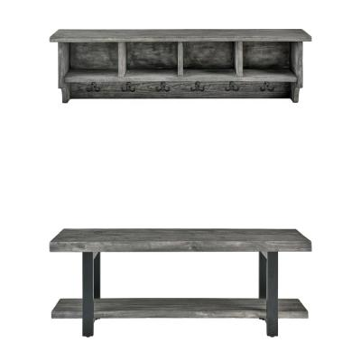 Pomona 48 in. Slate Gray Metal and Reclaimed Wood Wall Coat Hook with Bench