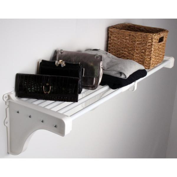 40 in. - 75 in. Expandable Metal Shelf in White with 2 End Brackets