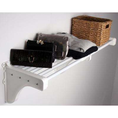 40 in. - 73 in. Expandable Metal Shelf in White with 2 End Brackets