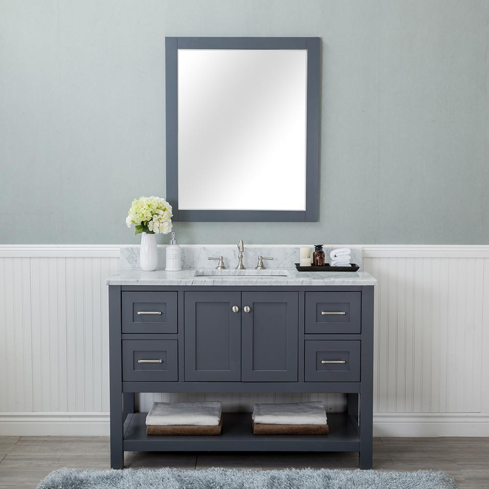 Alya Bath Wilmington 48 in. W x 22 in. D Vanity in Gray with Marble Vanity Top in White with White Basin and Mirror
