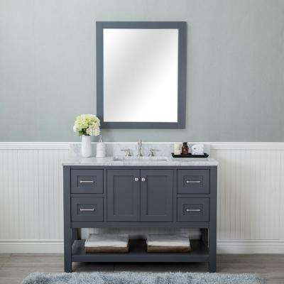 Wilmington 48 in. W x 22 in. D Vanity in Gray with Marble Vanity Top in White with White Basin and Mirror