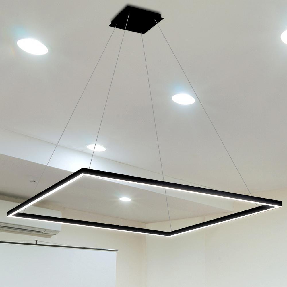 64 watt black integrated led chandelier
