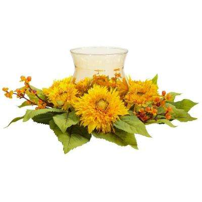 7.5 in. H Yellow Golden Sunflower Candleabrum Silk Flower Arrangement