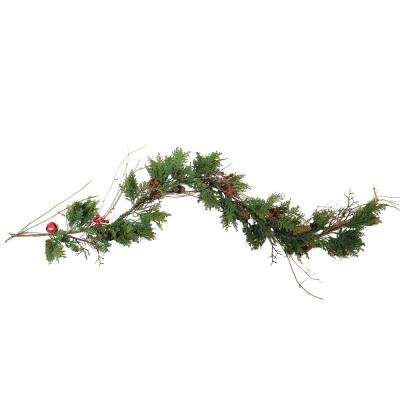 72 in. Christmas Red Bells Berries and Pine Cone Artificial Garland and Unlit