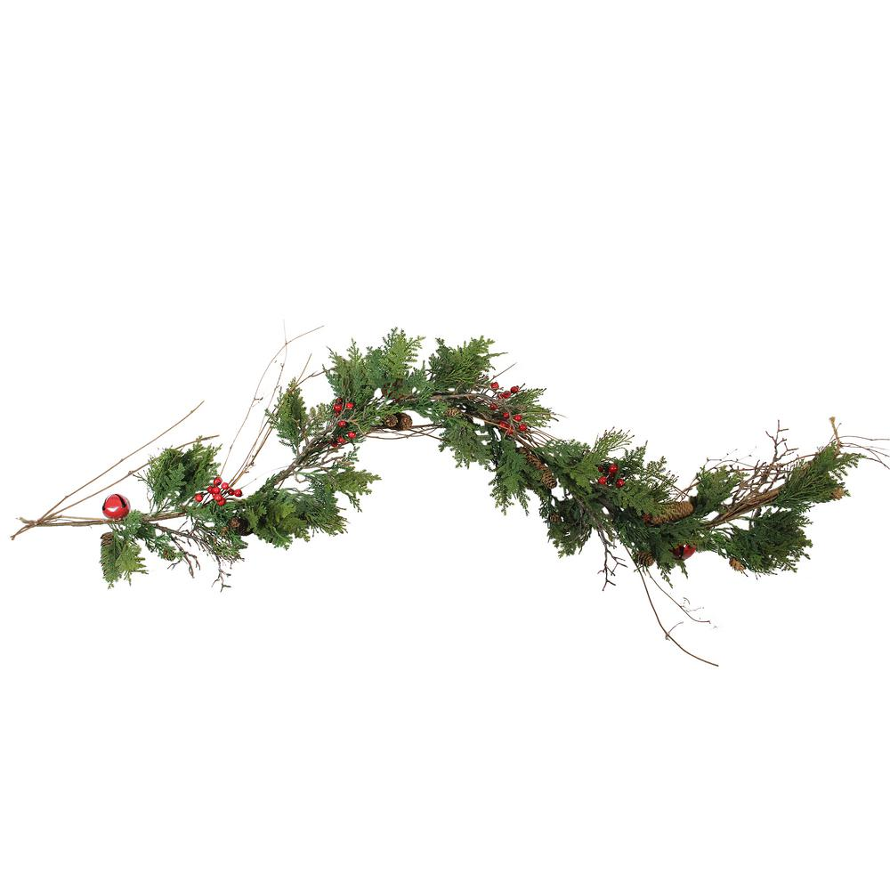 Northlight 72 In Christmas Red Bells Berries And Pine Cone Artificial Garland And Unlit