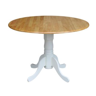 White and Natural Drop-Leaf Dining Table