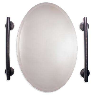 22 in. x 1.25 in. Grab Bar with Grips for Surrounding Mirror in Oil Rubbed Bronze (2-Pack)
