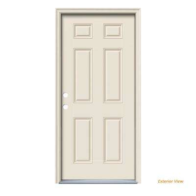 36 in  x 80 in  6-Panel Primed Right-Hand Inswing Steel Prehung Front Door  w/Brickmould