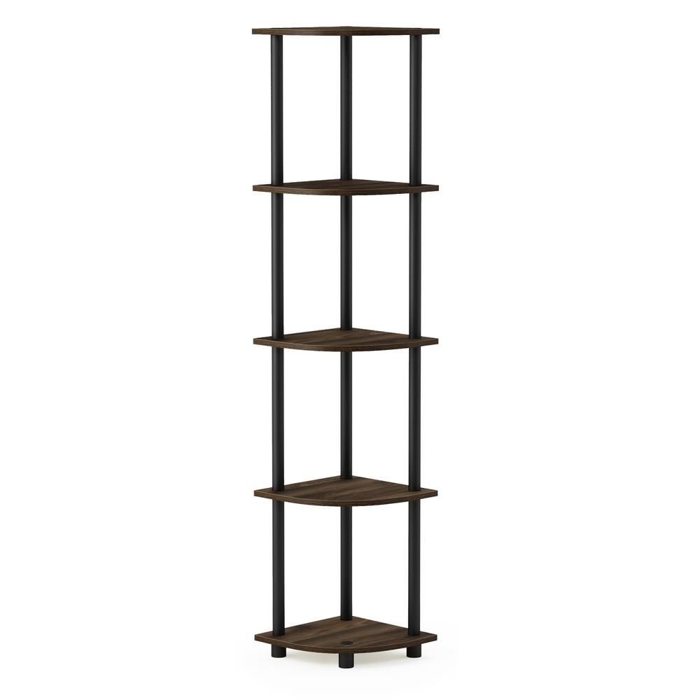 Turn-N-Tube Columbia Walnut/Black 5-Tier Corner Display Rack Multipurpose
