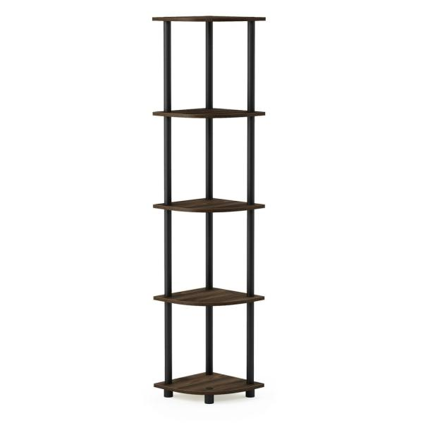 Furinno Turn-N-Tube Columbia Walnut/Black 5-Tier Corner Display Rack
