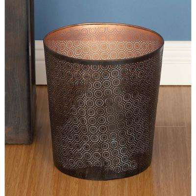 10 in. Black and Brown Cylindrical Metal Waste Can with Lattice Pattern Cut-Outs