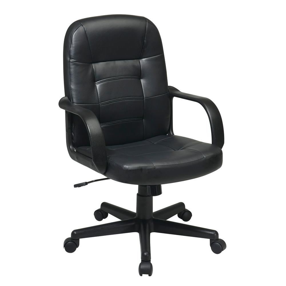 Work Smart Black Eco Leather Executive Office Chair-EC3393
