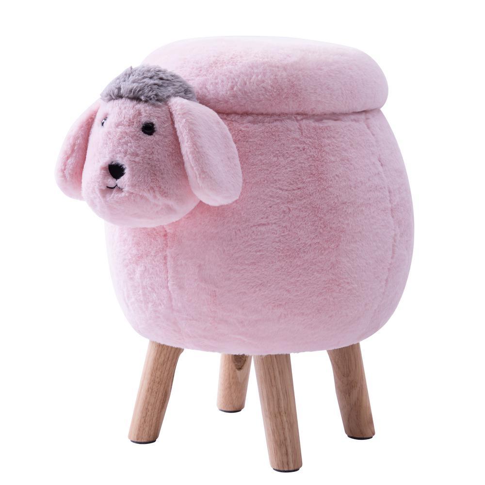 Pink Sheep Animal Storage Ottoman Footrest Stool