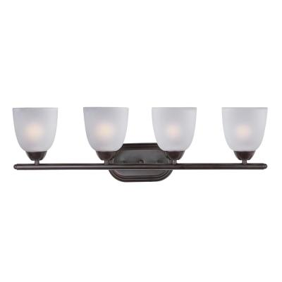 Axis 4-Light Oil Rubbed Bronze Bath Light Vanity with Frosted Shade