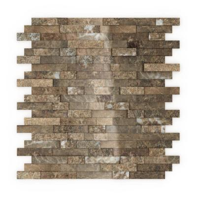 Bengal Brown 4 in. x 4 in. Stone Self-Adhesive Wall Mosaic Tile Sample