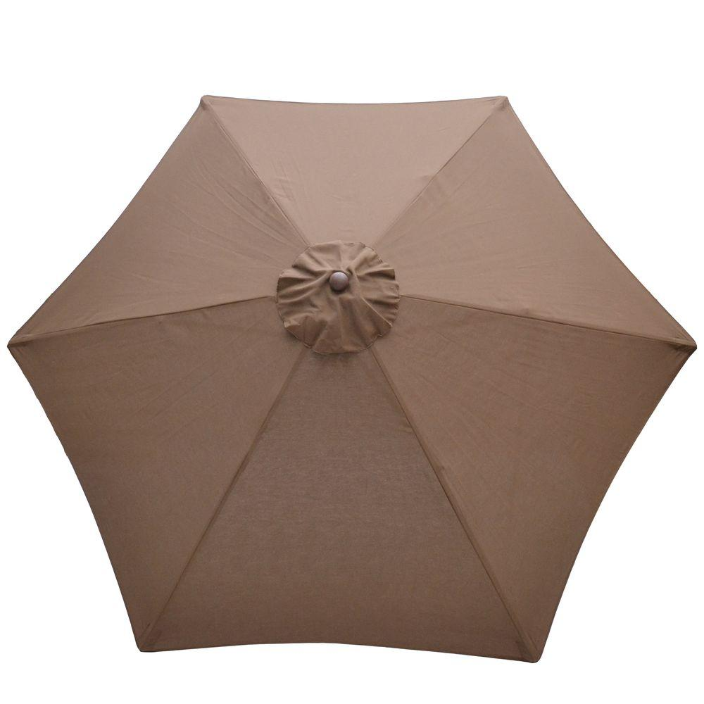 Plantation Patterns 9 ft. Wood Patio Umbrella in Brown-DISCONTINUED