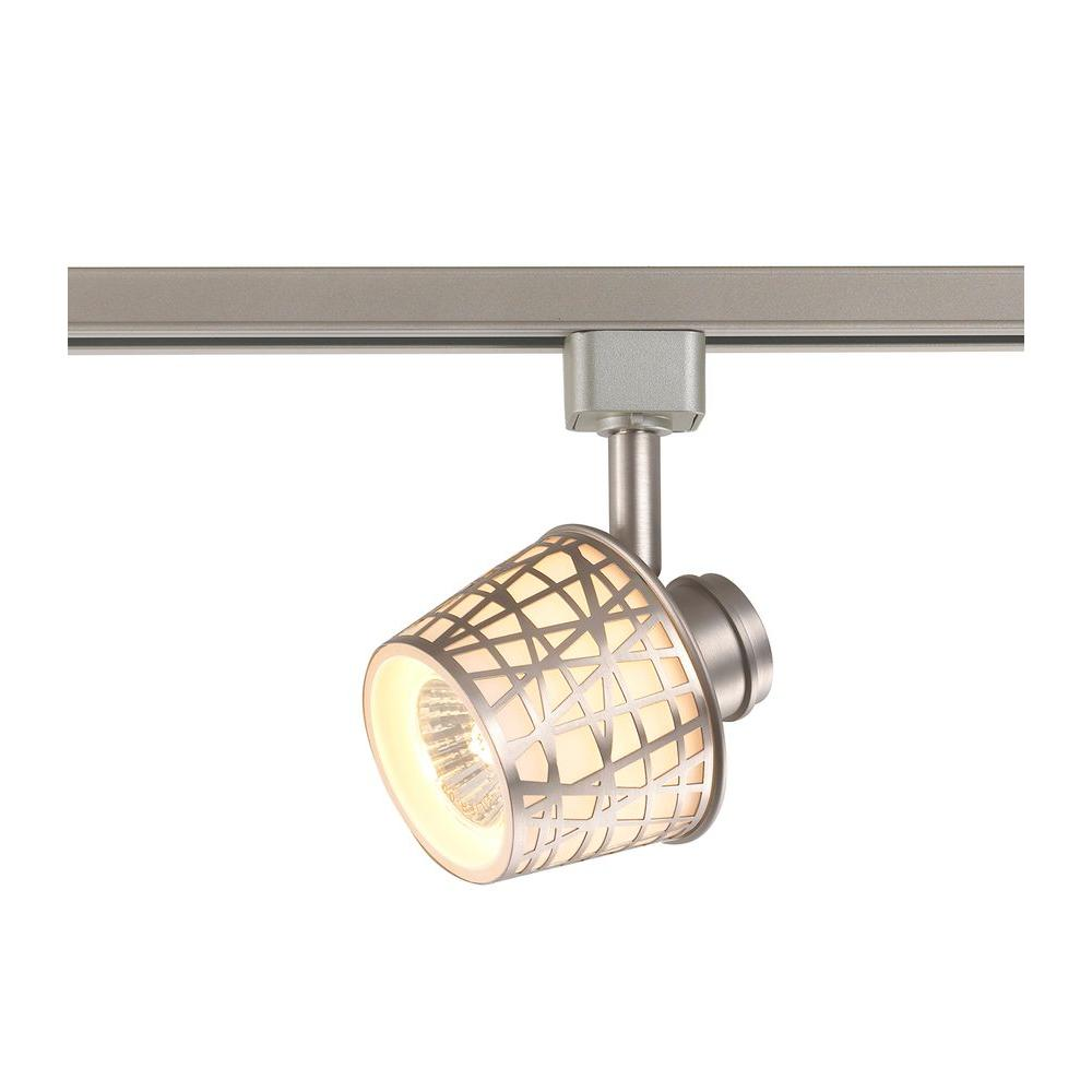 1-Light Removable Basket White Glass Shade Linear Track Lighting Head