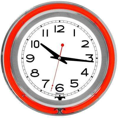 3 in. x 14 in. Red Double Ring Neon Clock